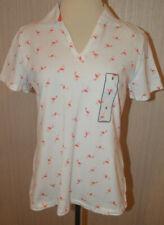 Women's Basic Editions White Coral Flamingo Short Sleeve Split V Polo Shirt Smal