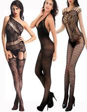 Women Sexy Lace Fishnet Lingerie Crotchless Bodysuit Bodystocking Sleepwear 1PC