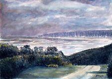 La bahía Filey A4 A3 o A2 impresión de arte de Yorkshire Acuarela Pintura russellart