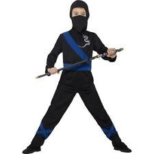 Boy's Black & Blue Ninja Assassin Fancy Dress Costume Warrior Karate World Book