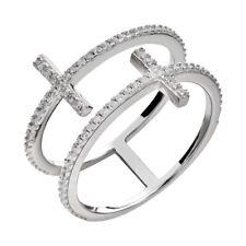 Sterling Clear Round Cubic Zirconia Double Sideways Cross Women's Wedding Ring