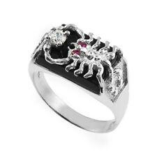 Men's Bold 10k White Gold Black Onyx Scorpion Band Scorpio Zodiac Statement Ring