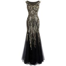 Angel-fashions Muster Paillette Bateau Überwurfhülse Flapper Abendkleid 377