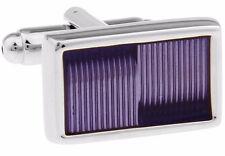 Modern Violet Purple Rectangle Enamel Cufflinks   by CUFFLINKS.DIRECT