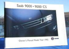New Rare Original Saab 9000 Handbook Owners Manual 1992