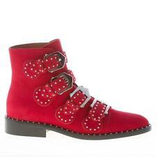GIVENCHY scarpe donna shoes Stivaletto camoscio rosso cinturini borchie fibbie