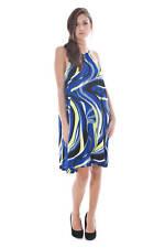 Abito vestito corto da donna PHARD blu senza Maniche nuova collezione estate