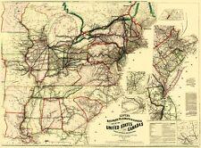 Old Railroad Map - Railroads, Telegraph, Express in US, Canada 1867 - 23 x 31