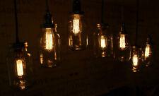Edison Bulb Vintage Industrial Pendant Light Mason Kilner Jam Jar Rustic Lamp