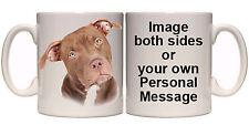 AMERICAN PIT BULL PERSONALISED DOG MUG AND COASTER (AN1) 11oz & 15oz GIFT