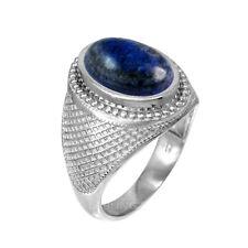 Sterling Silver Oval Lapis Lazuli Gemstone Mens Statement Ring