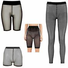 Ladies Mesh Fishnet Detail Sporty Cycling Shorts Hot Pants Leggings