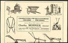 84 AVIGNON MAISON VIAU CHARLES MONNIER CHARRUES MATERIEL AGRICOLE PUBLICITE 1926