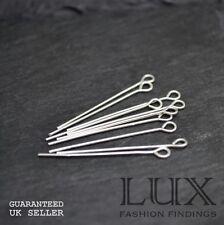 BULK BUY DISCOUNT 10 x 30mm Eye Pin Sterling Silver 925 Jewellery Making