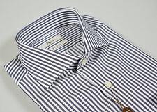 Camicia Ingram Slim Fit a righe Blu scuro Collo Francese Cotone Doppio Ritorto