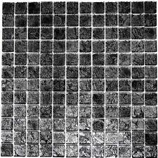 Mosaik Fliese Glasmosaik schwarz Struktur Wand Dusche Art:63-CM-4BL12_b | 1Matte