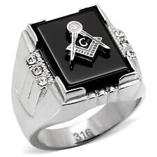 Men's Stainless Steel Master Masonic Rectangle Black Agate Free Mason Lodge Ring