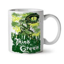 Pensa vegetale verde occhio ALIENO UFO NUOVO White Tea Tazza da caffè 11 OZ | wellcoda
