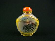 Beautiful Chinese Peking Cut Yellow Glass Overlay Snuff Bottle Painted Inside