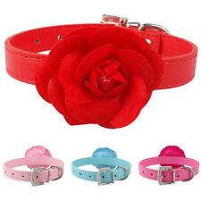 Cute Adjustable Big Rose Flower Dog Collar Studded PU Leather Girly f. Pet Puppy