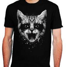 Kitty Metal T-Shirt para Hombre S-2XL Biker Metal Rock Kiss Metal Negro Punk Death