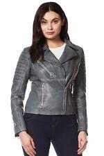 Ladies Leather Jacket Grey BIKER FASHION SOFT REAL LEATHER SIZE 8-20 9334