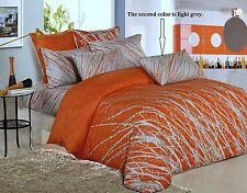 Orange-Grey Tree Cotton Bedding Set:1 Duvet Cover 2 Pillowcases Full/Queen/King