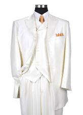 Men's Wool Feel Herring Bone Striped Suit w/ Vest #5264 Cream, Gray