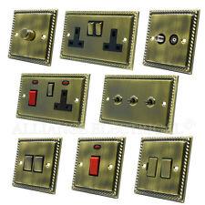 Full Range Georgian Antique Brass Dark Bronze Light Switch Socket Outlet Dimmer