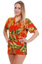 Funky Hawaiibluse Strelitzie Orange verschiedene Größen Hawaiishirt