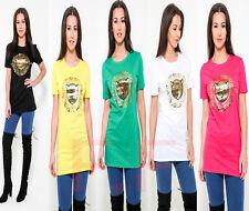 Femme Femmes Feuille D'Or Imprimé Tigre Manches Courtes Graphique T-shirt homme à encolure ras-du-cou