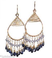 Koh Lipe 34~Blue Sapphire & Iolite Drop Earrings with Metal Choice