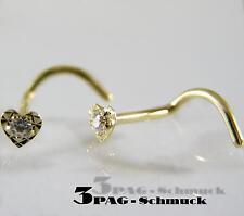 750 GOLD Nasenstecker HERZ 2,3 / 2,8 mm Zirkonia Spirale Piercing Goldpiercing