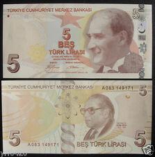 Turkey Paper Money 5 Lirasi 2009 UNC