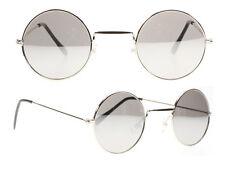 Para hombre de estilo vintage y retro redondas Ozzy John Lennon Hippie Metal Gafas de Sol Espejo de Plata