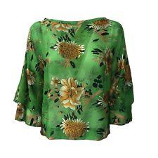 BIANCOGHIACCIO camicia donna manica 3/4 verde fantasia mod CAMERUN
