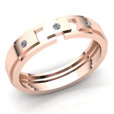 Genuine 0.5ctw Round Cut Diamond Mens Fancy ThreeStone Engagement Ring 18K Gold