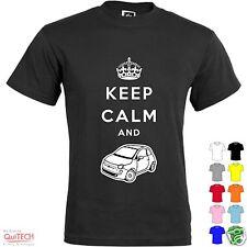 T-Shirt Keep Calm and Fiat Auto 500 Abarth Maglietta Uomo-Donna Bianca-Colorata