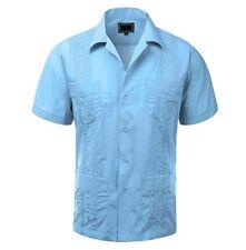 NEW Mens Guayabera Shirt Wedding Cigar Light Blue, ALL SIZES(S~4XL)