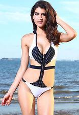 Bañador mujer trikini con cremallera blanco y negro de topos original sexy