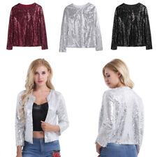 New Ladies Women Winter Sequin Jacket Blazer Party Formal Slim Blazer Coat S-XXL