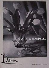 PUBLICITE CRISTAL DE DAUM VASE FLEURS TULIPES CRISTALLIER D'ART 1948 FRENCH AD