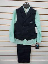 Boys Young Kings by Steve Harvey $50 4pc Navy w/ Mint PinStripe Vest Suit Sz 4-7