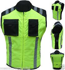 Hi - Visibilty Motor Cycle Bike Waterproof Cordura Waistcoat/Vest/Gillet- HI VIZ