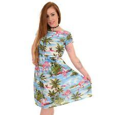 Run And Fly Hawaiian Flamingo Fifties Vintage Dress 8 10 12 14 16 18