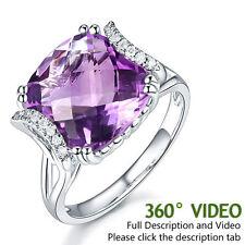 14K White Gold Luxury Anniversary Ring 6.4 Ct Cushion Purple Amethyst Diamond