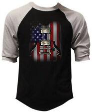 Men's Guitar American Flag Black Baseball Raglan T Shirt USA July 4 Partiotic US