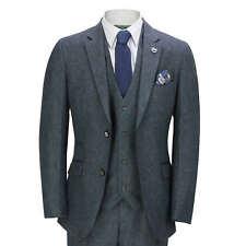 Mens Blue Tweed 3 Piece Suit Herringbone Smart Tailored Fit Retro Peaky Blinders