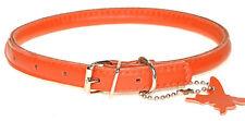 """Roulé en cuir collier de chien. plus belle qualité. chrome. très doux, orange taille 9"""" -24"""""""
