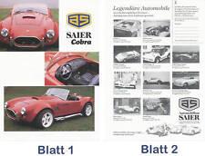Saier Cobra Prospekt 1990 brochure Auto PKWs Autoprospekt Broschüre Deutschland